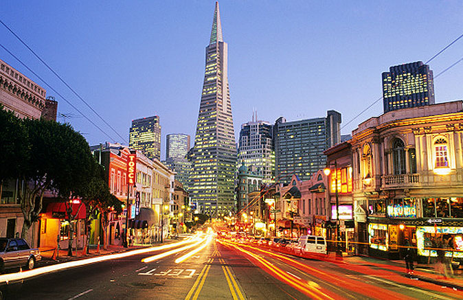 San Francisco touristic city with hotels